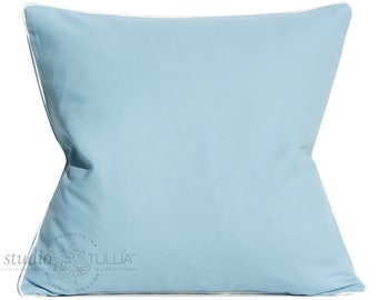 Light Blue Pillow Cover - Decorative pillow cover - 20X20 inch - Contrast Welt - blue and white - ready to ship