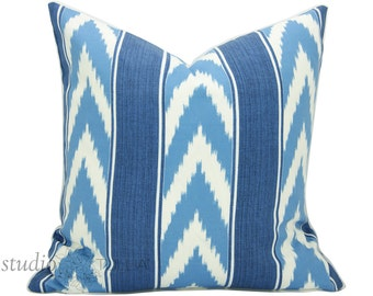 Blue Striped Pillow Cover - Stripe - 20 inch - Decorative Pillow - chevron - outdoor pillow - strie - blue - ready to ship