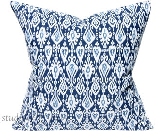 Blue and White  Ikat Pillow Cover - 19X19  - outdoor pillow - bohemian chic - hamptons  - throw pillow - decorative pillow - ready to ship