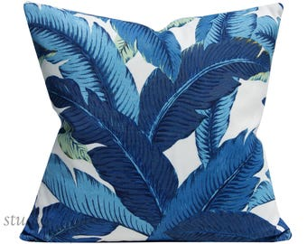 Palm Pillow Cover - Escape Blue - 20 inch - pillow cover - indoor outdoor - escape blue