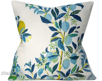 Schumacher Pillow Cover - Citrus Garden by Josef Frank - 20 inch -  Pool - Decorative Pillow Cover  - ready to ship