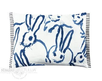 Bunny Fabric - Hutch Print Navy - Hunt Slonem - Lee Jofa - Groundworks - Lumbar - ready to ship