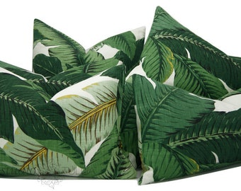 INDOOR - OUTDOOR Swaying Palm Pillow Cover - Any size - Green Floral - 17-26 inches - Palm - Leaves - modern resort - made to order