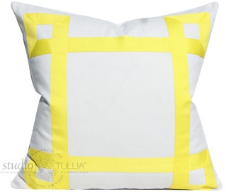 White and Yellow Pillow Cover - Ribbon Pillow - Citron Yellow - decorative pillow cover - ready to ship