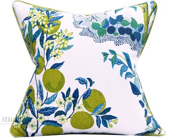Schumacher Pillow Cover - Citrus Garden - Josef Frank - 22 inch -  contrast welt - Blue and white  - Decorative Pillow Cover - ready to ship