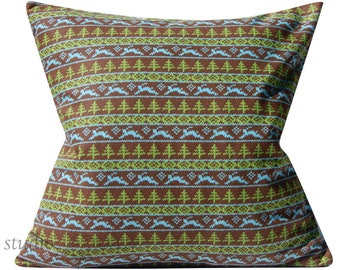 Vintage Deer Print Pillow - 20X20 - kitsch - brown and green -retro - ready to ship