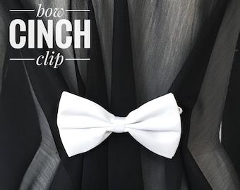 White Bow Tie Cinch Clip Sister