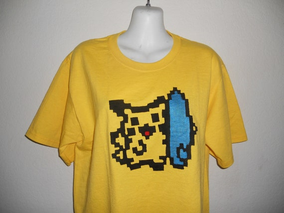 9b9a7197 Items similar to 8 bit Surfing Pikachu pokemon yellow adult shirt on Etsy