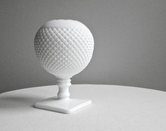 Vintage Westmoreland Milk Glass Ivy Ball Vase - Round White Vase Spherical Square Foot - English Hobnail Milk Glass