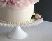 Fenton Silver Crest Milk Glass Cake Stand - Modern Wedding Mid Century Cupcake Dessert Pedestal Plate Clear Glass Rim