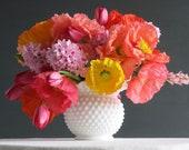 Vintage Hobnail Milk Glass Vase Fenton Large and Round White Vase for Flowers