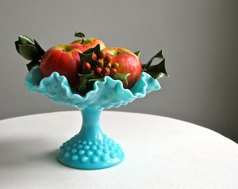 Vintage Turquoise Blue Milk Glass Footed Compote by Fenton, 1950s Hobnail Footed Bowl  Aqua Fruit Bowl Centerpiece