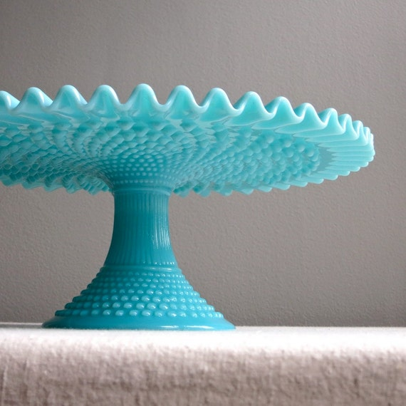 Vintage Fenton Turquoise Blue Hobnail Milk Glass Cake Stand Etsy