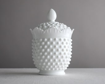 Vintage Hobnail Milk Glass Candy Dish by Fenton White - Crown Top Covered Dish - Bowl with Lid