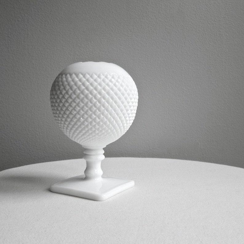Vintage Westmoreland Milk Glass Ivy Ball Vase  Round White image 1