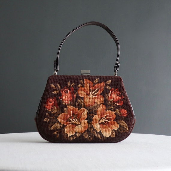 Vintage Needlepoint Handbag - Brown Orange Floral