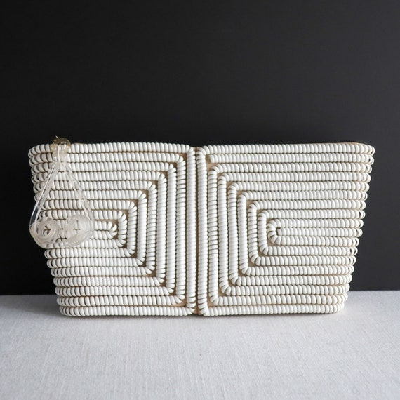 Vintage Telephone Cord Plastic Coil White Handbag