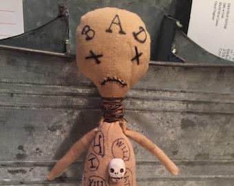 OOAK Creepy Cute Voodoo Doll Macabre Gothic Puzzle Fun Skull Handmade Softie Bad Boy Extreme Primitive Lowbrow Art Grungy