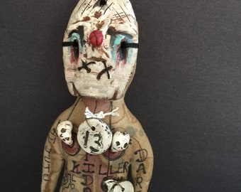 OOAK Creepy Clown Voodoo Doll Friday 13th Serial Killer Odd Softie Dark Art Curiosity Oddity Freaky Mask Creep Show Handmade
