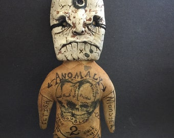 OOAK Voodoo Doll Extreme Primitive Conjoined Fetal Skull Gothic Odd Softie Witchcraft Magic Dark Art Curiosity Oddity Macabre