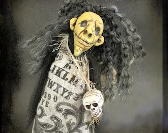 EHAG OOAK Creepy Witch Art Doll Macabre Gothic Human Skull Ouija Board Handmade Softie Halloween Figure