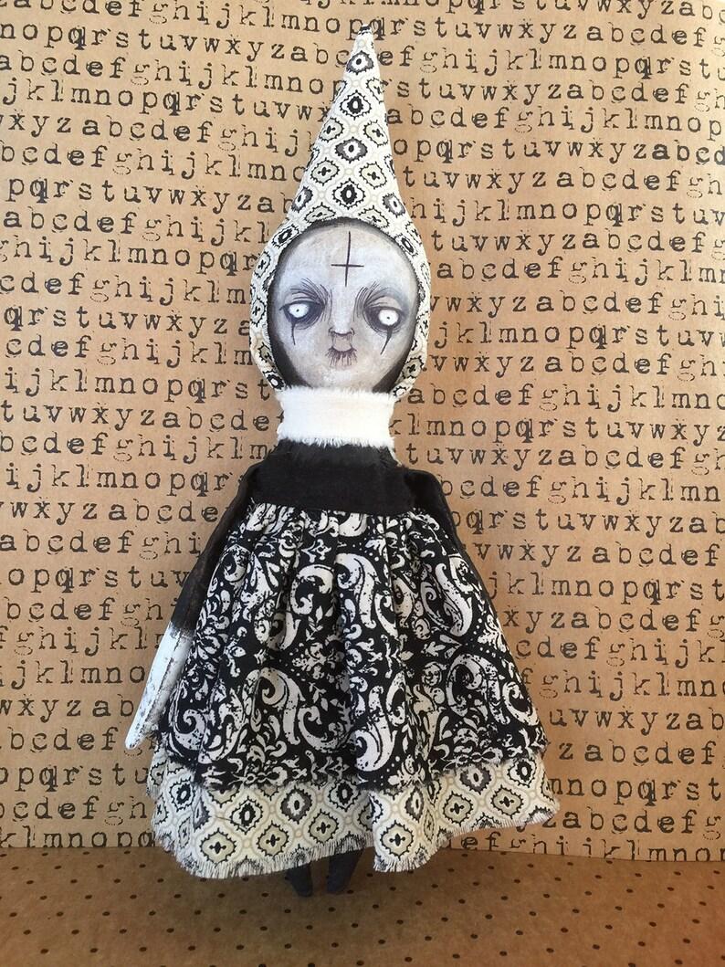 OOAK Lowbrow Goth Dark Art Doll Silent NUN Creepy Religion image 0