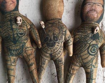 Unique Personalized Gift or Customizable Voodoo Doll OOAK Handmade Magick Dia De Los Muertos Momento Poppet Dark Art Creepy Fun Oddity