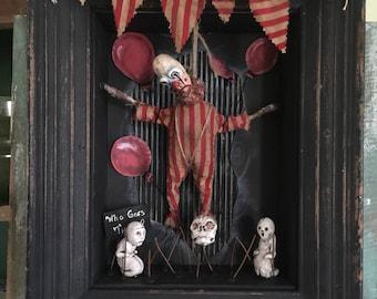 OOAK Macabre Diorama With Creepy Dead Clown Hanging Curiosity Dark Art Unique Gift Oddity Goth Freak Show Circus Carnival