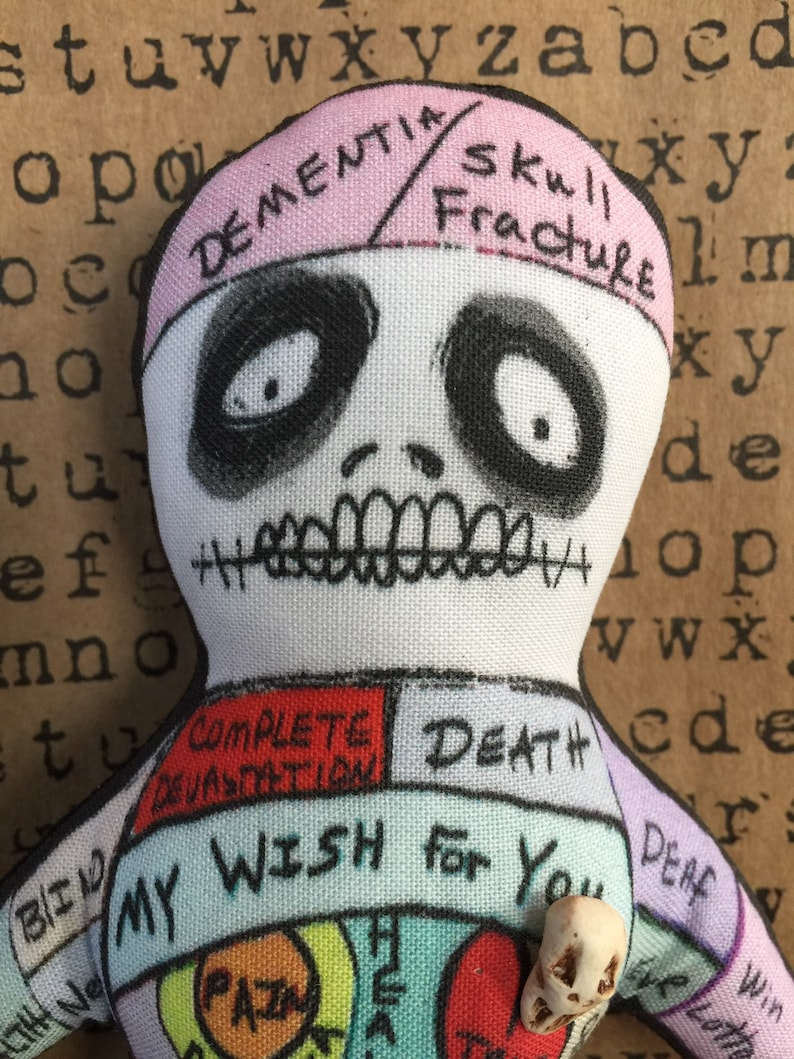 Original Art Voodoo Doll Dark Art Poppet Skull Pin head image 0