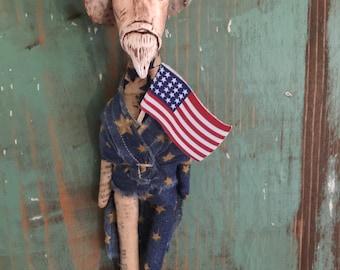Original Handmade Americana Folk Art Doll Uncle Sam Vintage Style Independence Day Primitive Patriotic USA July 4th