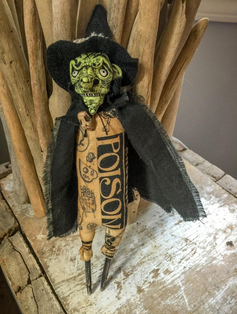 OOAK Folk Art Halloween Doll Grungy Witch Figure Goth image 0