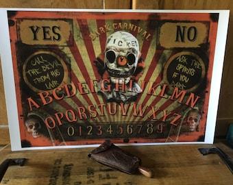 Creepy Clown Carnival Ouija Board Poster Print Dark Circus Horror Movie Collectible Halloween Orange Black Freak Show