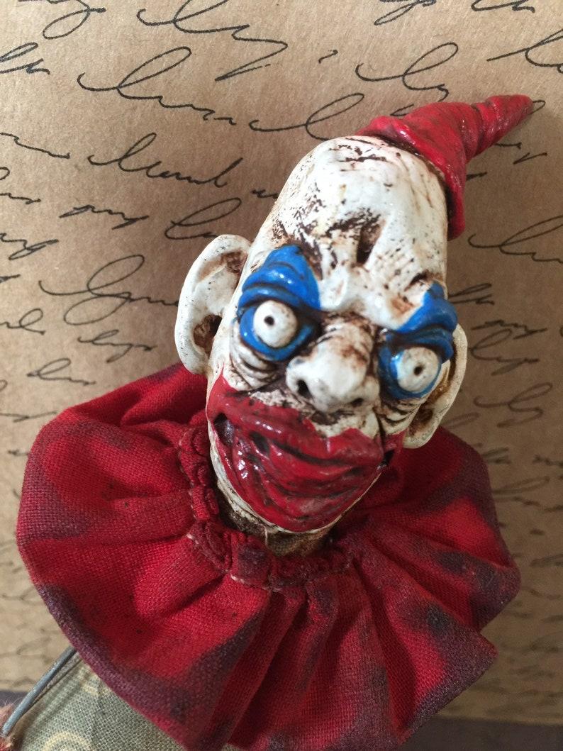 OOAK Art Doll Creepy Clown Pogo Gacy Figure Goth Lowbrow image 0