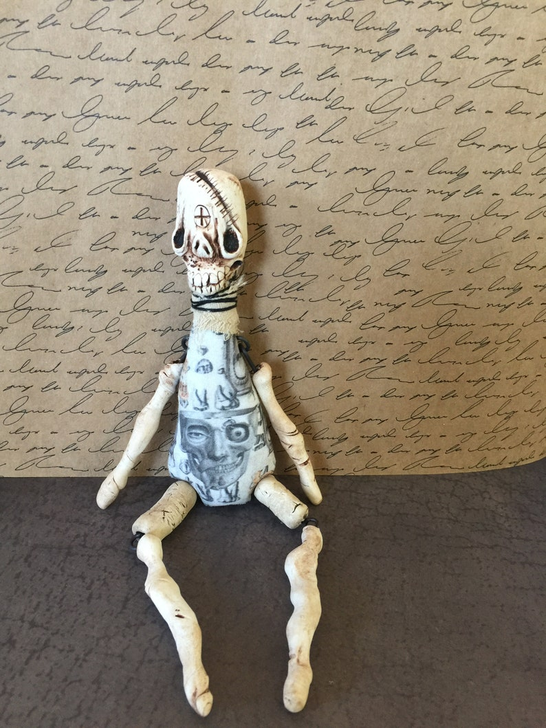 Unique OOAK Odd Grungy Skeleton Doll Original Art Low Brow image 0