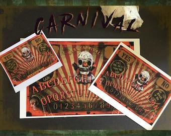 Creepy Clown Carnival Ouija Board Stickers and Prints Dark Circus Horror Movie Collectible Halloween Orange Black Yellow Freak Show