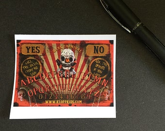 Free Shipping in USA Creepy Clown Carnival Ouija Board Stickers Dark Circus Horror Movie Collectible Halloween Orange Black Freak Show