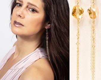 Golden Shadow Swarovski Crystal Drop Earrings 14kt gold filled