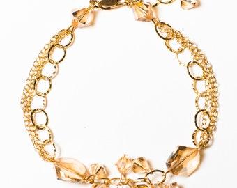 Golden Shadow Swarovski Crystal Bracelet 14kt Gold Filled