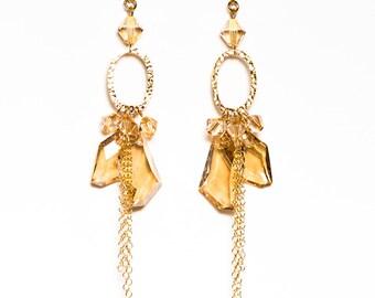 Golden Shadow Crystal Chandelier Earrings 14kt Gold Filled