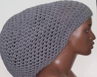 a26bb688645ae Gray Crochet Ultra Mega Tam Cap Hat with Drawstring Unisex Dreadlocks by  Razonda Lee Razondalee Choose Your Color