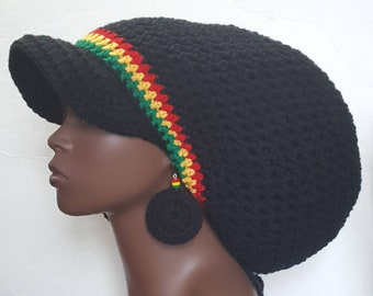 a857b863201 Black Rasta Trim Large Crochet Brimmed Cap Hat with Drawstring and Earrings  Black Red Yellow Green by Razonda Lee Razondalee