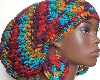 cc825cfd572 Fiesta Crochet Large Tam Hat with Drawstring and Earrings Dreadlocks Rasta  Tam by Razonda Lee Razondalee