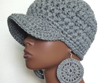 Gray Chunky Crochet Baseball Cap with Earrings by Razonda Lee Razondalee 33a9f1dadbc