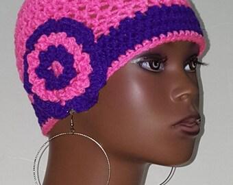 Crochet Beanie Skull Cap with Flower by Razonda Lee Razondalee Bright Pink Bright Purple