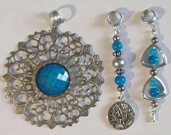 3 Piece Set Loc Jewelry by Razonda Lee Razondalee Hair Accessories Dreadlock Cuffs Beads Charms Dread Beads Blue Antique Assortment
