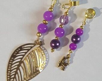 3 Piece Set Loc Jewelry by Razonda Lee Razondalee Hair Accessories Dreadlock Cuffs Beads Charms Dread Beads Purple Assortment