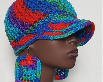 CLEARANCE Crochet Baseball Cap with Earrings by Razonda Lee Razondalee Red Blue Green Purple Turquoise