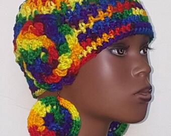 Crochet Beanie Skull Cap with Flower and Earrings by Razonda Lee Razondalee