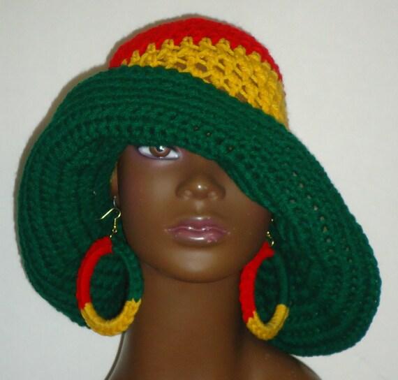 Diva Rasta Farben häkeln Floppy Hut mit breiter Krempe mit