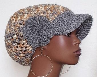 CLEARANCE Gray Earth Tones Medium Brimmed Crochet Cap Hat by Razonda Lee Razondalee